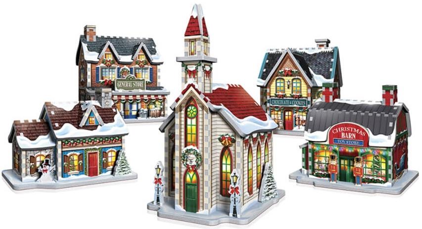 Julepuslespil der danner en juleby i 3d