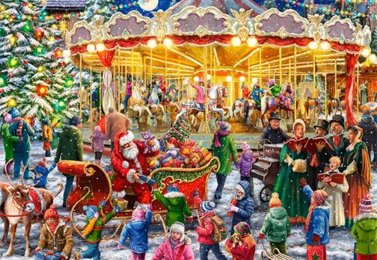 julepuslespil med en karrusel og julemanden 1000 brikker